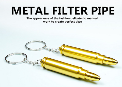 1PC Keychain Aluminum Bullet Shape Smoking Pipe Tobacco Herb Pocket Pipe New