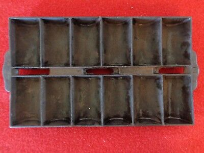 Antique Dinner Roll Pan #11 Cast Iron Early 1900's Mini Loaf Pan