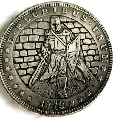 New Hobo Nickel 1879 Templar Knight Morgan Dollar Crusade Society Casted Coin