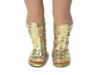 Gold Tall Gladiator Sandals Shoes For 18 Inch American Girl Doll Clothes