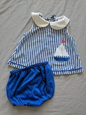 Vintage 70s 80s Carter's Summer Swimsuit Sailboat Blue White Stripe 24 M 2 Piece