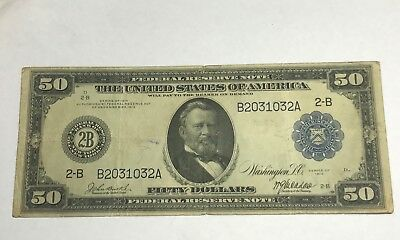 1914 us grant  $50 federal reserve note,  New York district, VF