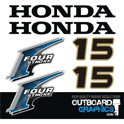HONDA 15 HP Four Stroke Outboard Decal kit Reproductions 9 9