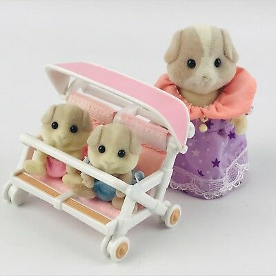 Epoch Calico Critters Patty & Paden's Double Stroller Set Guinea Pig Mom Twins