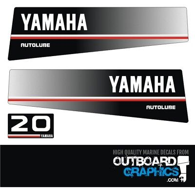 Yamaha 20hp autolube outboard engine decals/sticker kit