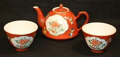 OLD Tea Pot & Cups Porcelain CANTON WEAR Hand Painted Red Peoples Republic China