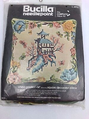 Bucilla China Garden Needlepoint Pillow Kit 4916 Pagoda Lotus Flower Butterfly