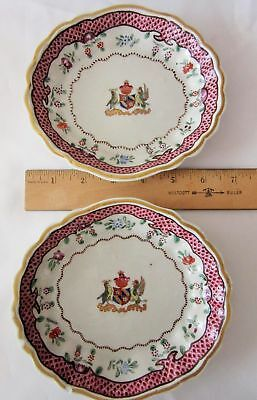 "Two hand painted Antique candy dishes 6.5"" France flower birds Coat of Arms"