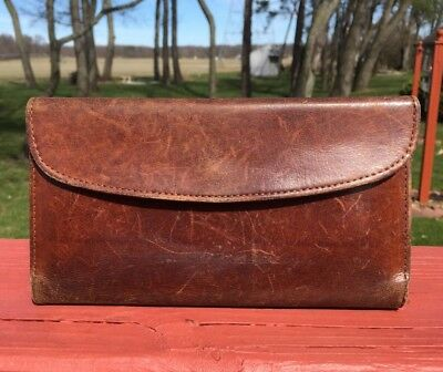RARE Vintage COACH Brown Leather CHECKBOOK WALLET CLUTCH PURSE Credit Card 1970s