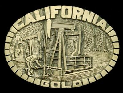 RC14170 VINTAGE 1980s *CALIFORNIA GOLD* PUMPING UNIT SOLID BRASS OILFIELD BUCKLE