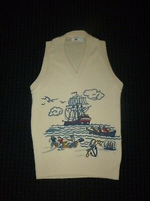 Vtg 60s 70s Sears Boys Size 12 Acrylic Novelty Vest Nautical Sailing Ship Theme