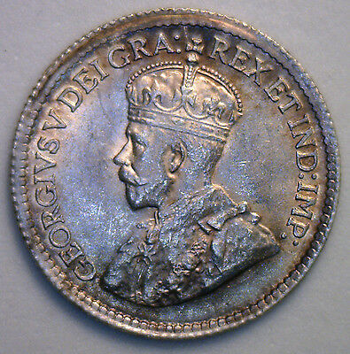 1919 George Silver 5 Cent Small Nickle Canadian Canada Coin MS2 Five Cents