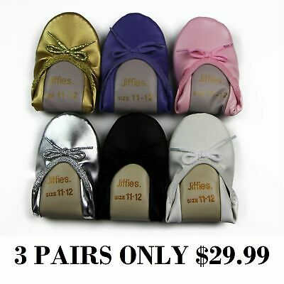3 PAIRS x Grosby Jiffies Girls Ballet Dance Slippers Shoes Black Gold Pink White
