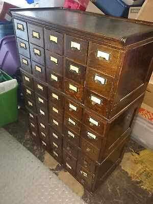 Library File Card Catalog Cabinet 45 Drawers Original Wood Casters EXCD