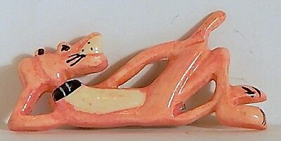 Vintage Pink Panther Plastic Brooch Pin