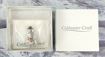 Coldwater Creek 3-Tone Snowman with Heart & Hat Christmas Pin Holiday Brooch