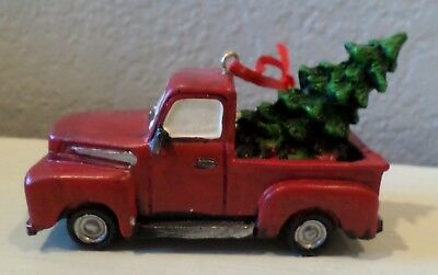 Vintage Style Red Truck Christmas Tree In Back Ornament Village Home