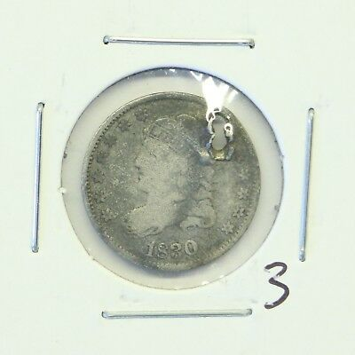 1830 H10C Capped Bust Half Dime: Holed #3