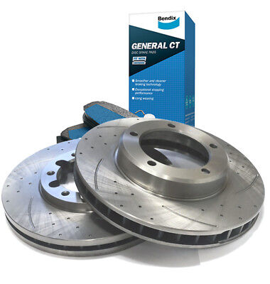 SLOTTED DIMPLED FRONT 319.8mm BRAKE ROTORS & BENDIX PADS ACCORD 08~15 2.4L
