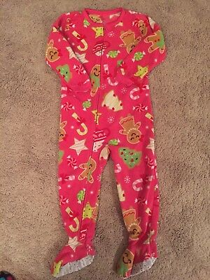 Carters Girls Christmas Pajamas Size 3T Pink One Piece Long Sleeve