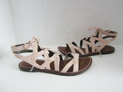 SAM EDELMAN GEMMA Beige Suede Lace Up Gladiator Sandals 7.5 -  19.50 ... 3d2f5ce58