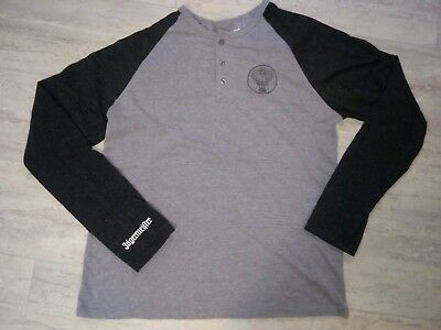 Jagermeister Logo Shirt Men Size Large Long Sleeve Gray Quarter Button Pullover