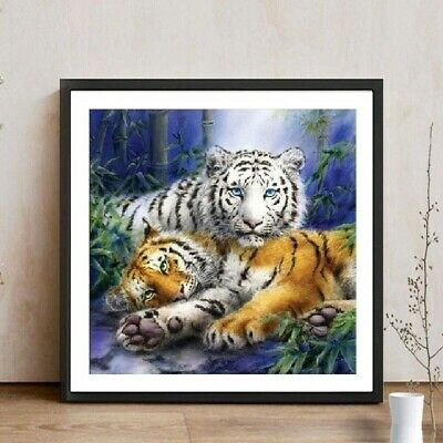 AU Two Tigers Full Drill DIY 5D Diamond Painting Embroidery Cross Stitch Kit NT