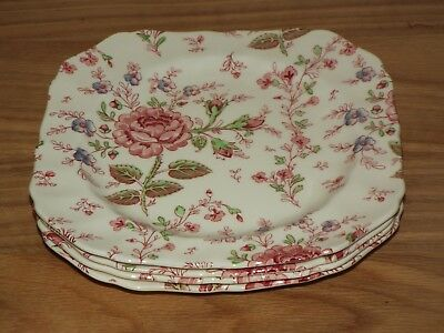 "SET OF 4 Johnson Brothers ROSE CHINTZ  8"" SQUARE PLATES Made England Pink Stamp"