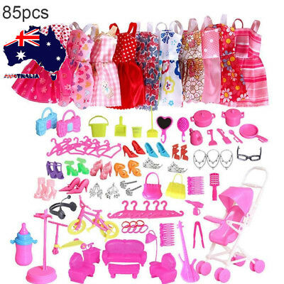 AU 85pcs Dolls Clothes Dress Set Shoes Jewellery for Barbie Dolls Accessories