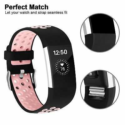 Pink Replacement Silicone Watch Wrist Bands Strap For Fitbit Charge 2 Wristband