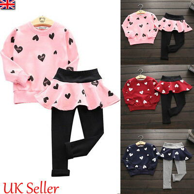UK Toddler Kids Baby Girls Heart Print Tops Skirt Pants Leggings Outfits Clothes