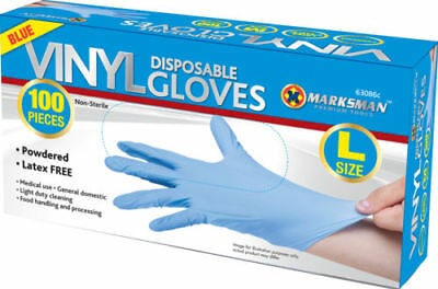 100 Disposable Powdered Latex Free Blue Vinyl Gloves Food Medical Surgical