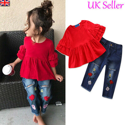 Toddler Baby Girls Ruffle Tops Denim Pants Jeans Kids Autumn Clothes Outfits Set