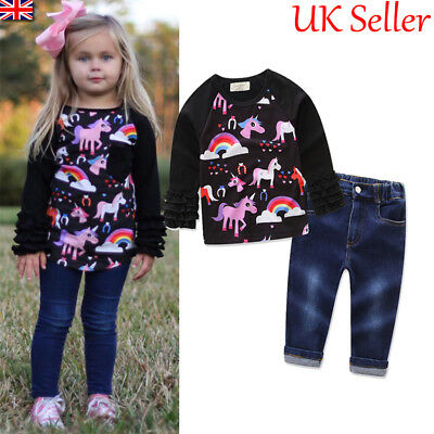 UK Kids Baby Girls Clothes Unicorn Sweatshirt Tops Pants Tracksuit Outfits Set