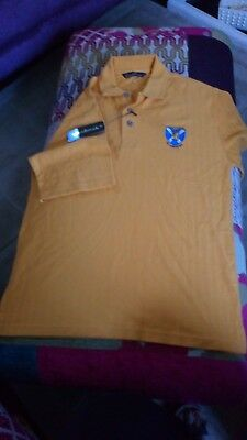 EMBROIDERED GOLF POLO SHIRT OLD COURSE ST ANDREWS Amber Small  Woodbrook BNWT