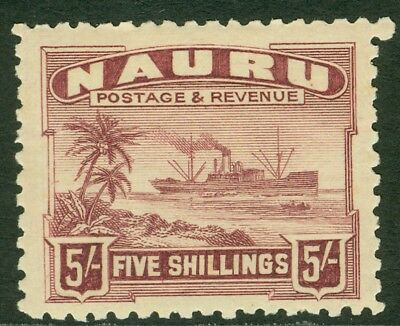 SG 38a Nauru 1924-48. 5/- claret. Lightly mounted mint CAT £50