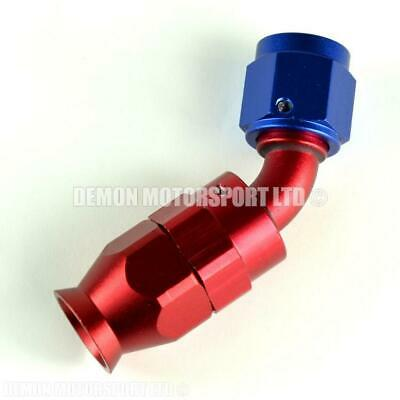 AN6 45 Degree Braided Hose Fitting (Red & Blue) PTFE Teflon Lined Hose -6 6AN