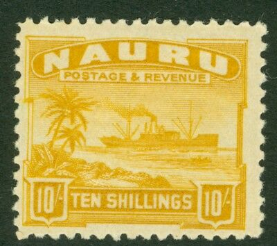SG 39a Nauru 1924-48. 10/- yellow on rough surfaced greyish paper. Lightly...