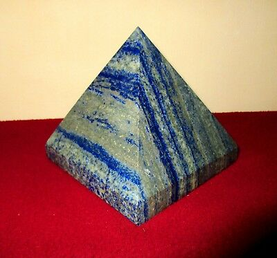 "Large 4.5"" Egyptian Blue Lapis Lazuli Crystal Healing Energy Meditation Pyramid"