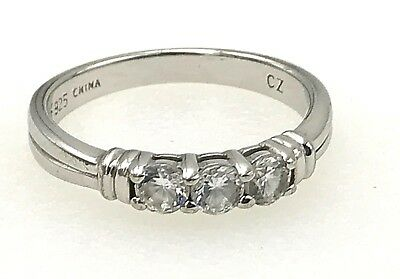 Estate .925 Sterling Silver & Triple Cubic Zirconia Band Ring, Size 6.75
