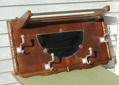 Vintage French Oak Art Deco Wall Hung Coat Hook Hat Rack With Mirror