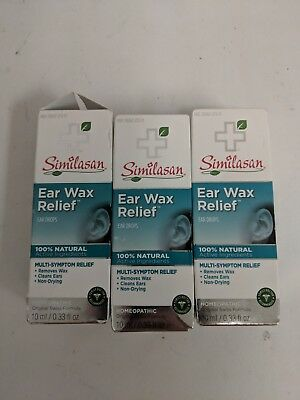 3 SIMILASAN EAR WAX RELIEF MULTI-SYMPTOM .33fl.oz EACH EXP 9/19 AL 1246