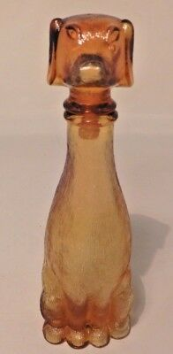 Vintage 1950's DOG Shaped Amber Glass Bessi Wine Italian Bottle Decanter