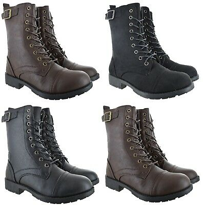 Ladies Womens Army Combat Military Ankle Buckle Flat Lace Up Zip Biker Boots Sz