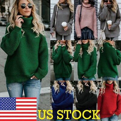 Womens Winter Turtle Neck Baggy Tops Chunky Knitted Oversized Sweater Jumper OLJ
