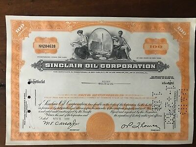 Vintage Sinclair Oil Corporation Stock Certificate Issued 1968