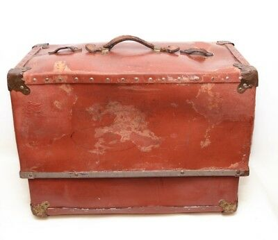 Antique Large Hard Red Travel Case Luggage Train Boat Chests Trunk Suitcase