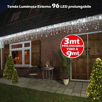 Tenda Luminosa Natale 96 LED Luci Bianco Freddo FLASH 3 MT Esterno Prolungabile