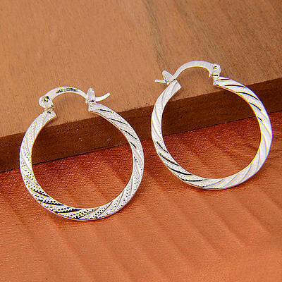 New Women Fashion Jewelry 925 Sterling Silver Plated Small Hoop Dangle Earrings