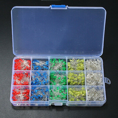 750Pcs 3mm Round LED Light White Yellow Red Blue Green Assortment Diodes DIY Kit